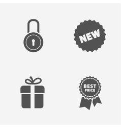 Flat contour shop icon set vector