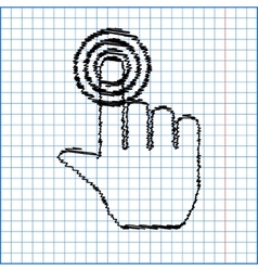 Hand icon with pen effect on paper vector