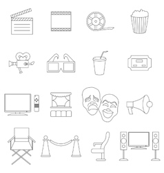 Cinema icons set thin line style vector