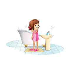A young girl combing her hair after taking a bath vector image vector image