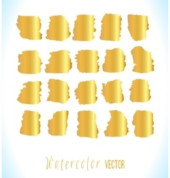 Abstract gold watercolor blots set vector