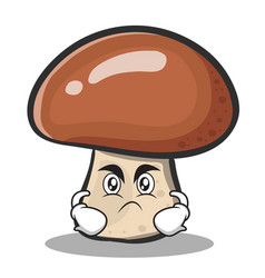 Angry face mushroom character cartoon vector
