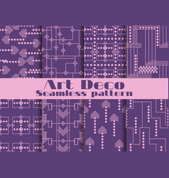 Art deco seamless patterns purple color set vector