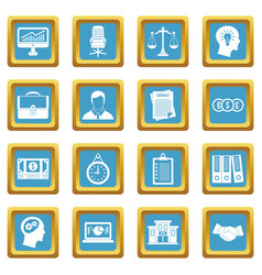 Banking icons azure vector