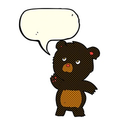 cartoon curious black bear with speech bubble vector image
