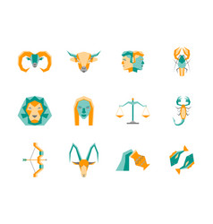 Cartoon zodiac symbol color icons set vector