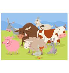 cute farm animal characters vector image vector image