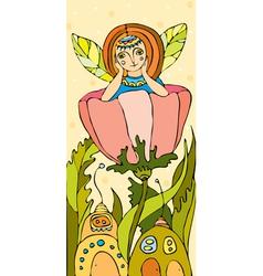 elf girl flower vector image vector image