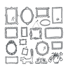free hand drawing of picture frames vector image vector image