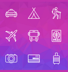 journey outline icons set collection of auto vector image vector image