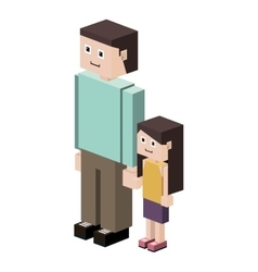 Lego silhouette with father and daughter vector