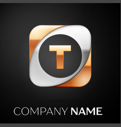 Letter t logo symbol in the colorful square on vector