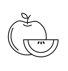 Line delicious apple with slice and exotic food vector