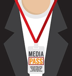 Media pass lanyard vector