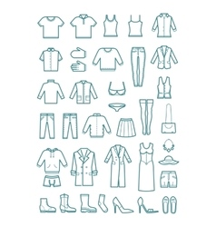 Mens and womens clothes thin line icons vector image vector image