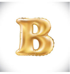 metallic gold b balloons golden letter new year vector image