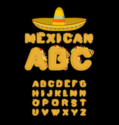 mexican font tacos alphabet taco fast food abc vector image vector image