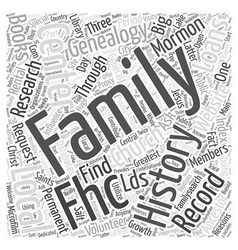 Mormon genealogy record word cloud concept vector