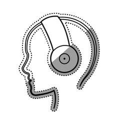 Music headphones device vector
