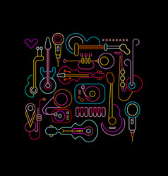 Musical instruments neon design vector