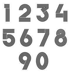 Numbers set thin line monogram math symbols vector