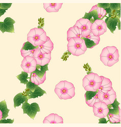 Pink alcea rosea - hollyhocks aoi on beige ivory vector