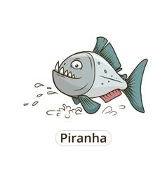Piranha fish cartoon vector