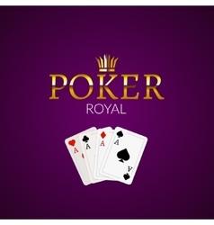 Poker casino poster logo template design royal vector