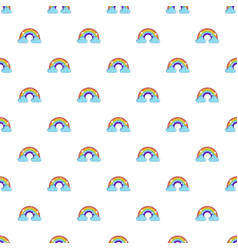 Rainbow with clouds pattern vector