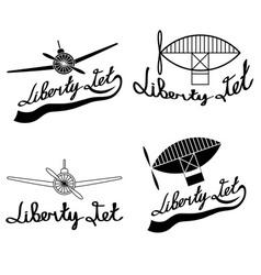 retro aviation labels set vector image