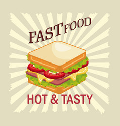 Sandwich fast food design isolated vector