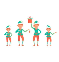 Set of cute christmas elves little child vector