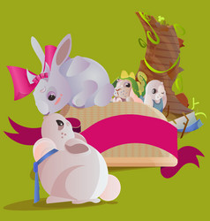 set of easter chocolate egg hunt bunny basket on vector image vector image
