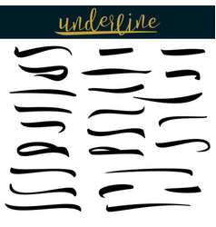 Set of underlines lettering lines isolated on vector
