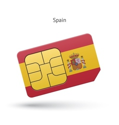 Spain mobile phone sim card with flag vector