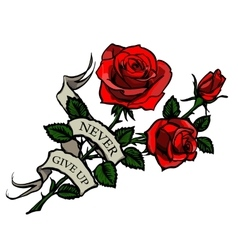 tattoo red roses vector image