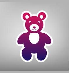 Teddy bear sign purple vector