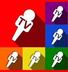 Tv microphone sign set of vector