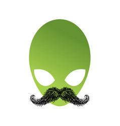 Ufo hipster with mustache alien head isolated vector