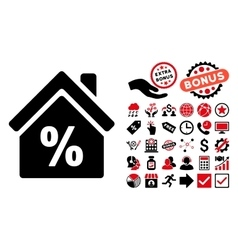 Mortgage discount flat icon with bonus vector