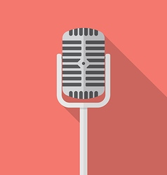 Retro microphone flat icon vector image