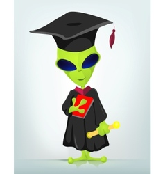 Cartoon graduate alien vector