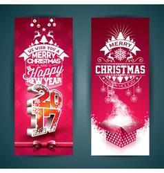 Merry christmas banner with gift box vector