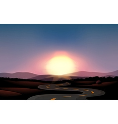 A winding road and the sunset vector