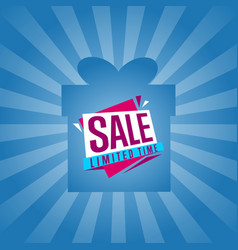 Limited time sale sticker on box silhouette vector