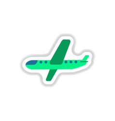 Paper sticker on white background airplane vector