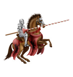 knight with lance on horse vector image