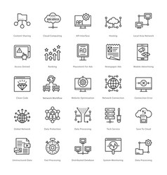 web and seo line icons 56 vector image