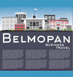 Belmopan skyline with gray buildings blue sky and vector