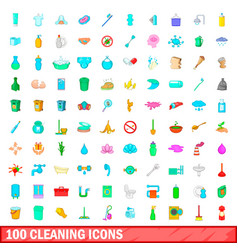 100 cleaning icons set cartoon style vector